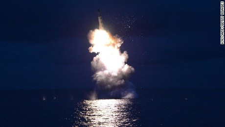 "This undated picture released from North Korea's official Korean Central News Agency (KCNA) on August 25, 2016 shows a test-fire of strategic submarine-launched ballistic missile being launched at an undisclosed location. / AFP / KCNA / KNS / South Korea OUT / REPUBLIC OF KOREA OUT  / SOUTH KOREA OUT ---EDITORS NOTE--- RESTRICTED TO EDITORIAL USE - MANDATORY CREDIT ""AFP PHOTO/KCNA VIA KNS"" - NO MARKETING NO ADVERTISING CAMPAIGNS - DISTRIBUTED AS A SERVICE TO CLIENTS