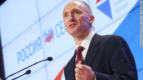 "Carter Page, Global Energy Capital LLC Managing Partner and a former foreign policy adviser to U.S. President-Elect Donald Trump, makes a presentation titled "" Departing from Hypocrisy: Potential Strategies in the Era of Global Economic Stagnation, Security Threats and Fake News"" during his visit to Moscow. Artyom Korotayev/TASS (Photo by Artyom Korotayev\TASS via Getty Images)"