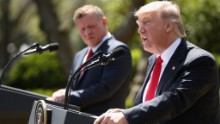 President Donald Trump and Jordan's King Abdullah II hold a news conference in the Rose Garden at the White House in Washington, Wednesday, April 5, 2017.