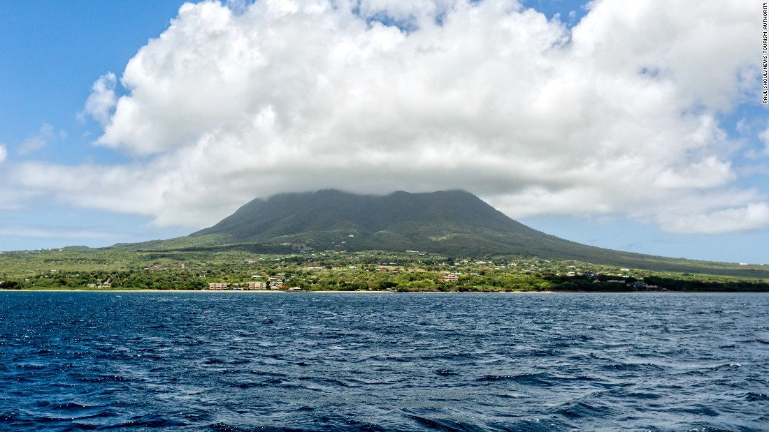 <strong>Nevis from the water</strong> -- The 3,232-foot peak dominates the island and is often shrouded in clouds.