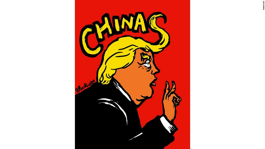 """Two Chinas"": A December 2016 cartoon on US President Donald Trump's <a href=""http://cnn.com/2016/12/02/politics/donald-trump-taiwan/"">apparent questioning of the ""One China"" policy</a>."