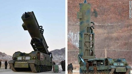 The missile launching system used to fire the Pukguksong-2 is shown in February in an image released by North Korean state media.