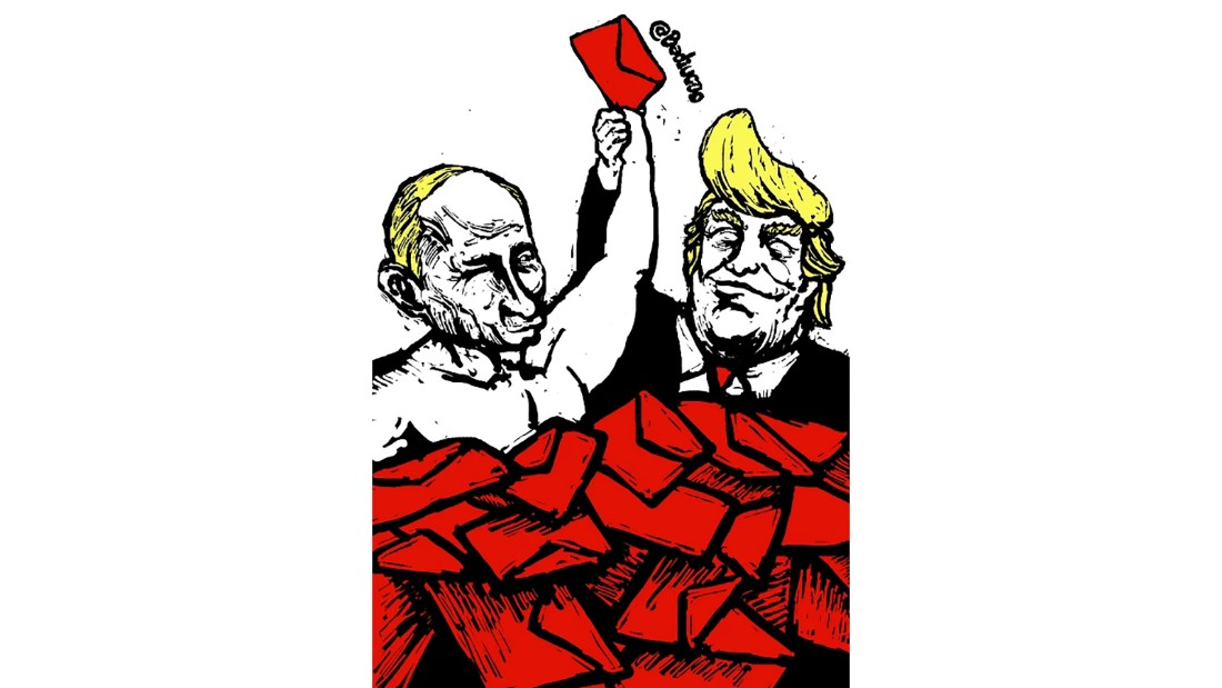 """Mail Lovers"": From November 2016, this cartoon comments on Trump's relationship with Russian President Vladimir Putin."