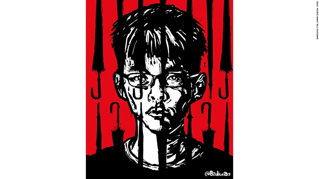 """Prisoner of Umbrella"": This cartoon features Hong Kong pro-democracy activist Joshua Wong, who was <a href=""http://chinadigitaltimes.net/2016/10/badiucao-%E5%B7%B4%E4%B8%A2%E8%8D%89-joshua-wong-detained-thailand/"" target=""_blank"">detained in Thailand in October 2016</a>."