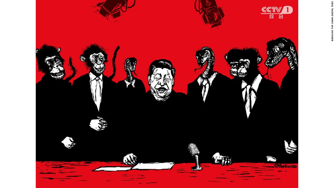 """The Monkey-Snake Party"": Created in February 2016 after Xi <a href=""http://chinadigitaltimes.net/2016/02/badiucao-巴丢草-the-monkey-snake-party/"" target=""_blank"">toured state media outlets</a>, this plays on the Chinese term for ""mouthpiece,"" a homophone of ""monkey snake."""