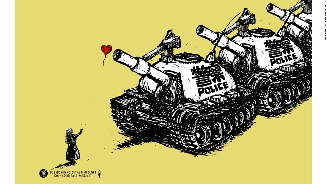 """Daily Patrol"": Ahead of the 25th anniversary of the Tiananmen Square massacre on June 4, 2014, Badiucao drew this cartoon about increased police patrols in major Chinese cities, <a href=""http://www.upworthy.com/banksy-has-updated-his-famous-the-girl-with-the-balloon-artwork-to-stand-with-syria-5"" target=""_blank"">drawing on a famous Banksy image</a>."
