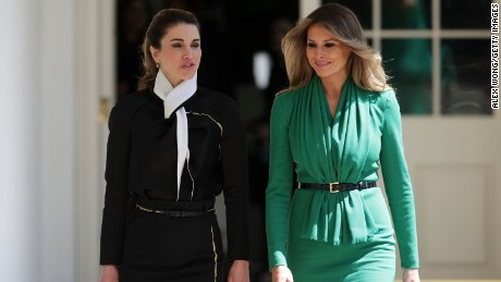U.S. first lady Melania Trump (R) and Queen Rania (L) of Jordan walk through the White House West Colonnade prior to a joint news conference April 5, 2017 in Washington, DC.