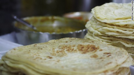 Stack of snacks: Roti flat breads at Central Market