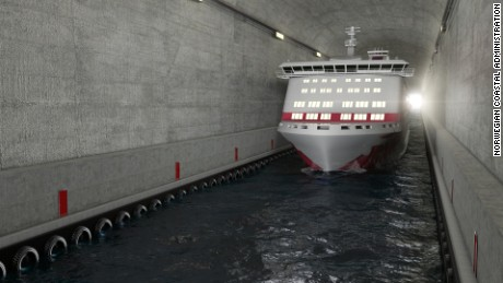 Artists impression of the finished tunnel in Norway.