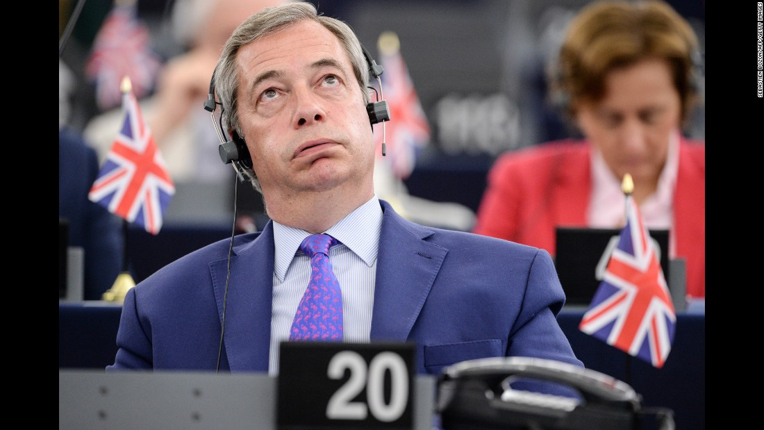 "Nigel Farage, former leader of the UK Independence Party, listens to speeches at the European Parliament on Wednesday, April 5. The parliament was debating ""Brexit"" -- the UK's decision to leave the European Union."