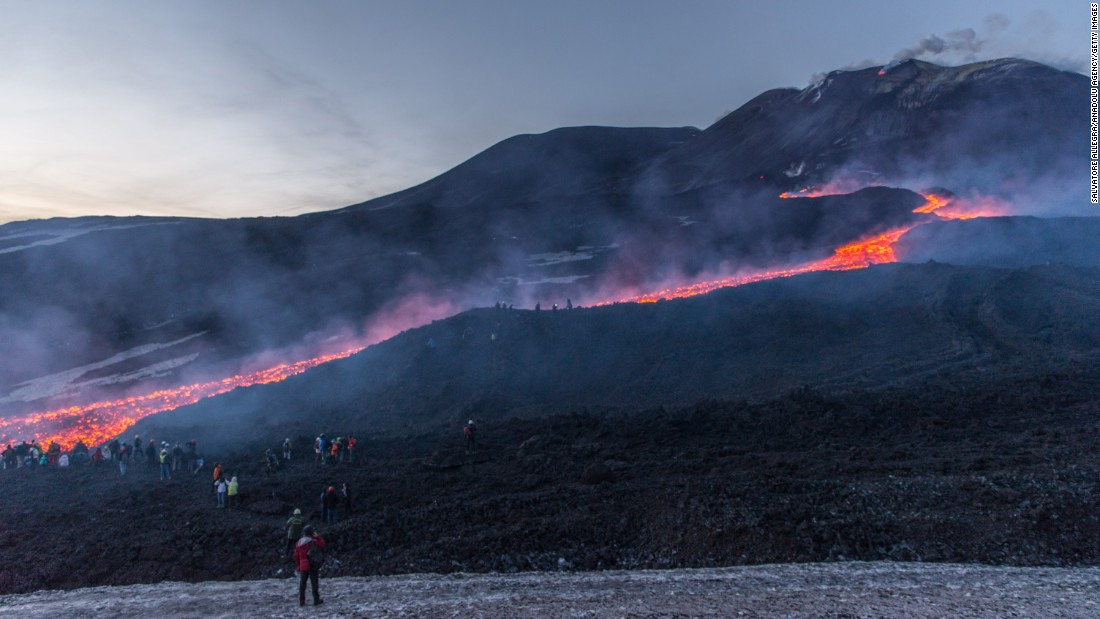 Lava flows from Mount Etna, Europe's largest active volcano, on Sunday, April 2. The volcano is in Catania, Italy.