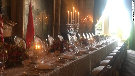 The dining room in Mar-A-Lago where President Trump will dine with President Xi on April 6, 2017.