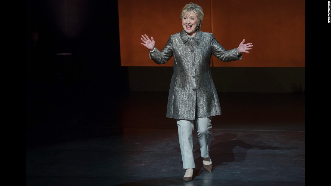 "Hillary Clinton arrives for an on-stage interview at the ""Women in the World"" summit in New York on Thursday, April 6. It was <a href=""http://www.cnn.com/2017/04/06/politics/hillary-clinton-russian-election-meddling/"" target=""_blank"">her first public interview</a> since losing the presidential election to Donald Trump."