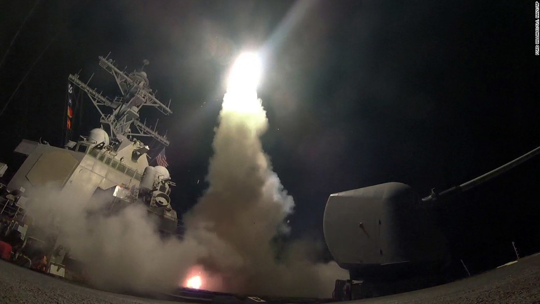 "In this image provided by the US Navy, the USS Porter fires a Tomahawk cruise missile from the Mediterranean Sea on Friday, April 7. On the orders of President Donald Trump, <a href=""http://www.cnn.com/2017/04/06/politics/donald-trump-syria-military/index.html"" target=""_blank"">US warships launched between 59 Tomahawk missiles</a> at a Syrian government airfield. US officials said the Shayrat airfield was home to warplanes that carried out <a href=""http://www.cnn.com/2017/04/04/middleeast/gallery/syria-suspected-chemical-attack/index.html"" target=""_blank"">a chemical attack</a> against civilians earlier in the week."