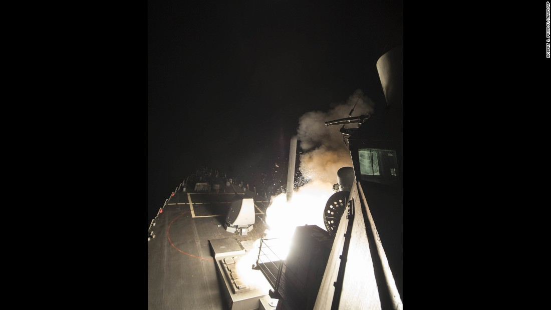 Another view of a missile being launched from the USS Ross.