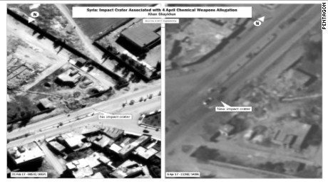 US military officials released these images showing declassified satellite photos of location of chemical weapons attack, one taken on 21st of February the other taken on the 6th of April.  CNN was told it shows where the impact from the April 4 strike, the military assessed it to be associated with at least one of the chemical attacks.