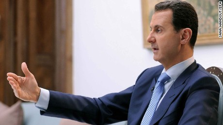 epa05892155 A handout photo made available by the official Syrian Arab News Agency (SANA) on 06 April 2017 shows Syrian President Bashar al-Assad speaking during an interview with Croatian newspaper Vecernji List (Evening paper) in Damascus, Syria 03 April 2017.  EPA/SANA HANDOUT  HANDOUT EDITORIAL USE ONLY/NO SALES