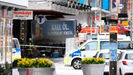 Emergency servies work at the scene where a truck crashed into the Ahlens department store at Drottninggatan in central Stockholm, April 7, 2017.