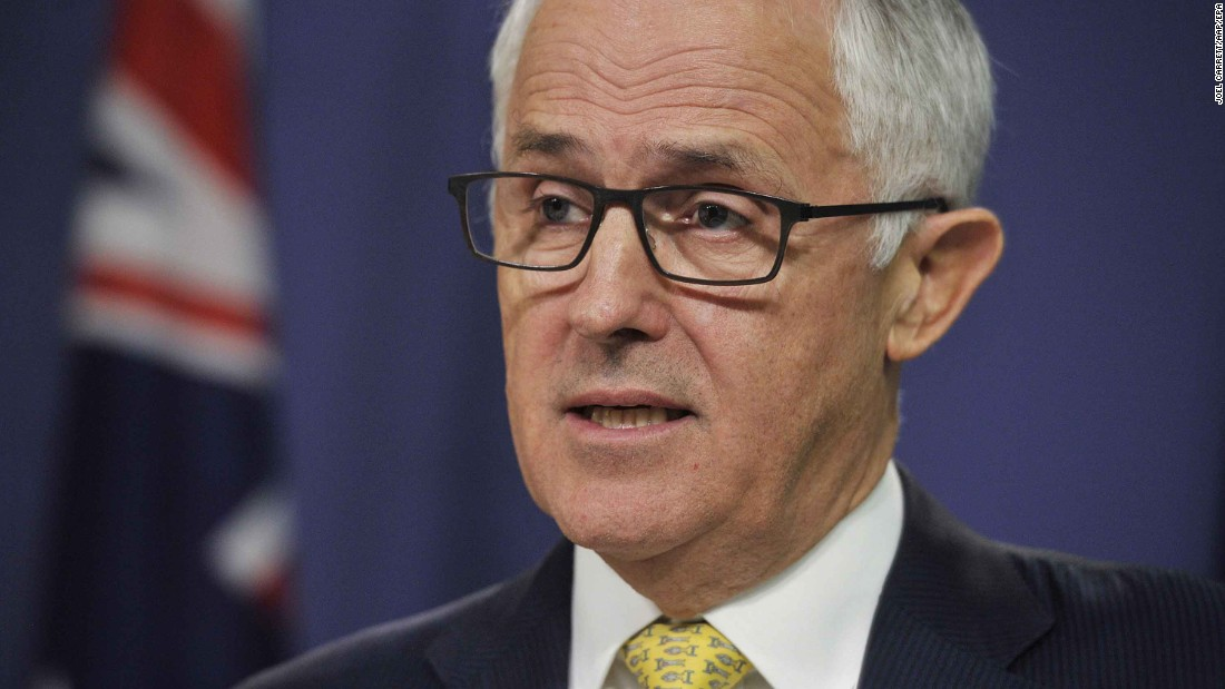 "Australian Prime Minister Malcolm Turnbull speaks during a news conference in Sydney. He said Australia ""strongly supports the swift and just response of the US"" to the recent chemical attack in Syria's Idlib province. He added that Australia was ""not involved in the strike"" but was informed by the US about the action shortly before it was carried out."
