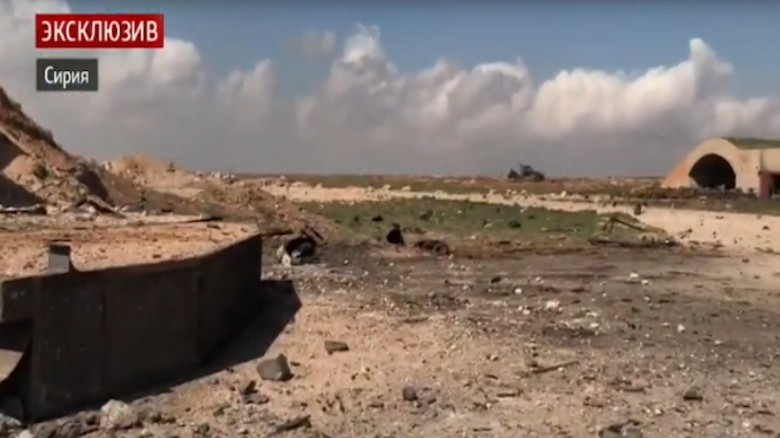 Watch: aftermath of US strike on Syria airbase