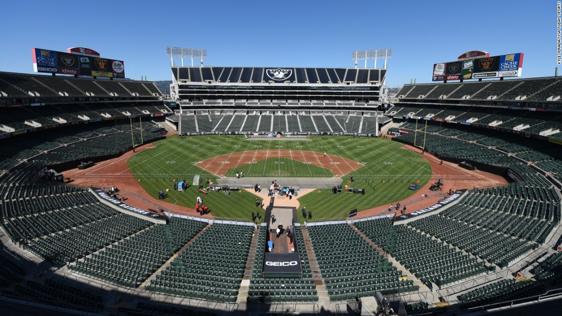 "The 1960s ushered in multipurpose stadiums, which MLB teams commonly shared with NFL teams. The only one still in use is in northern California, where the Oakland-Alameda County Coliseum is used by MLB's Oakland Athletics and the NFL's Oakland -- <a href=""http://money.cnn.com/2017/03/27/news/nfl-raiders-las-vegas-move/"" target=""_blank"">though soon to be Las Vegas</a> -- Raiders."
