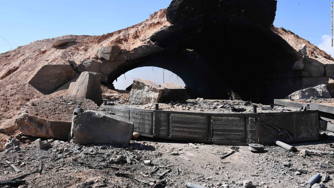 Damage is seen in the area of the Shayrat airfield, near the Syrian city of Homs, on Friday, April 7. The Pentagon said the strike, which began at 8:40 p.m. ET Thursday (3:40 a.m. local time Friday), targeted aircraft, storage facilities and other logistical materials.
