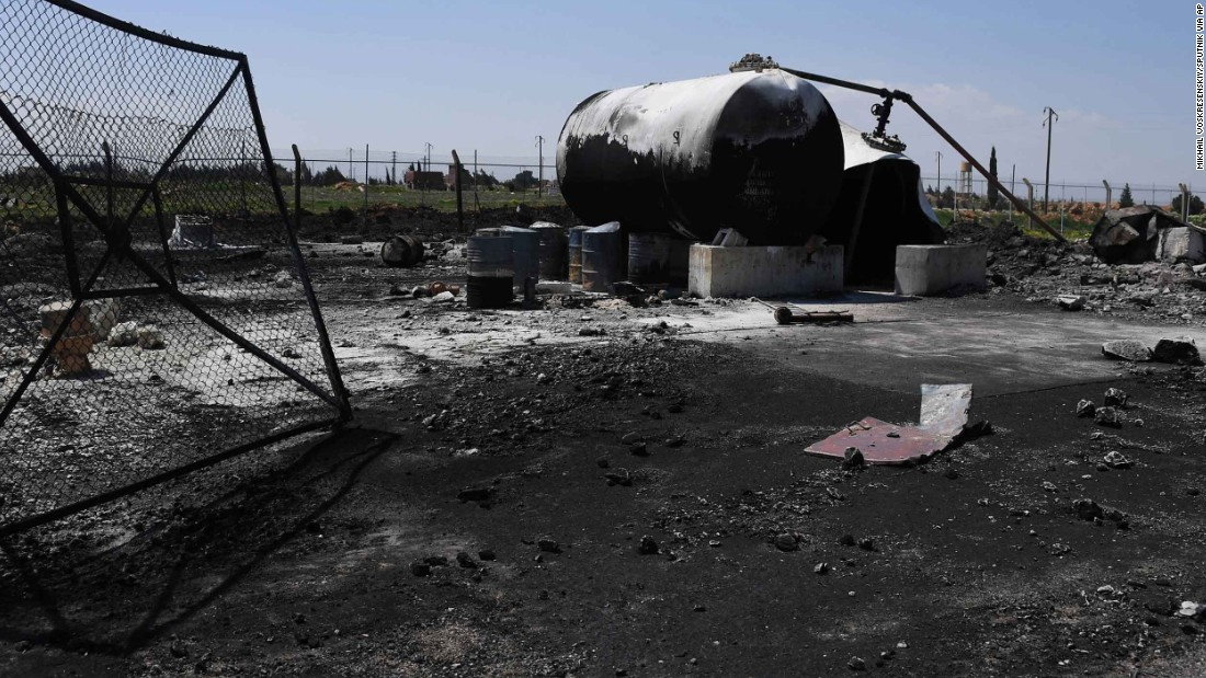 "The ground is blackened at the Shayrat airfield. A statement from Syria's general military command said the strikes caused ""extensive material damage"" and undermined counterterror operations by the Syrian army."
