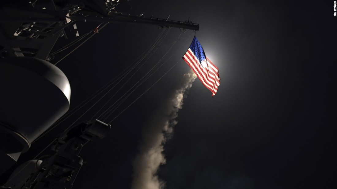 "In this image provided by the US Navy, the USS Porter fires a Tomahawk cruise missile from the Mediterranean Sea on Friday, April 7. On the orders of President Donald Trump,<a href=""http://www.cnn.com/2017/04/06/politics/donald-trump-syria-military/index.html"" target=""_blank""> US warships launched 60 Tomahawk missiles</a> at a Syrian government air base. US officials said the base was home to warplanes that carried out a chemical attack against civilians earlier in the week."