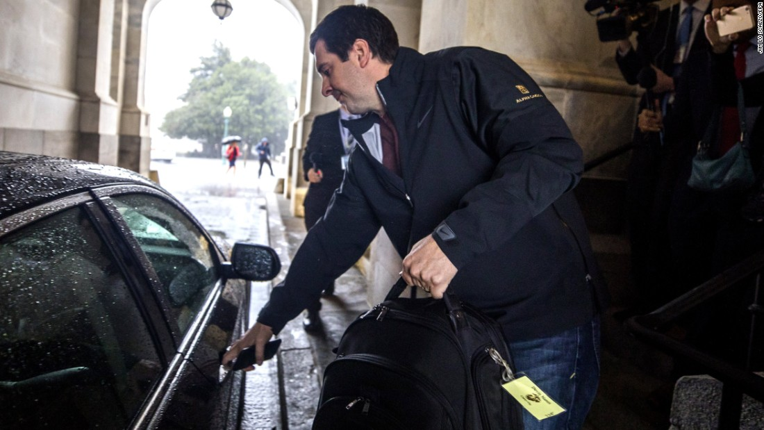 "Devin Nunes, chairman of the House Intelligence Committee, gets into a car Thursday, April 6, after <a href=""http://www.cnn.com/2017/04/06/politics/devin-nunes-stepping-aside-russia-intelligence-committee/"" target=""_blank"">recusing himself</a> from the investigation into Russia's meddling in the 2016 elections. Nunes blamed a series of ethics complaints filed against him. Some key House Democrats -- including US Rep. Adam Schiff, the Intelligence Committee's top Democrat -- called on Nunes to recuse himself after <a href=""http://www.cnn.com/2017/03/27/politics/devin-nunes-white-house-donald-trump/"" target=""_blank"">a recent trip he made to the White House.</a>"