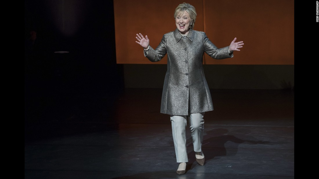 "Hillary Clinton arrives for an on-stage interview at the ""Women in the World"" summit in New York on Thursday, April 6. It was<a href=""http://www.cnn.com/2017/04/06/politics/hillary-clinton-russian-election-meddling/"" target=""_blank""> her first public interview</a> since losing the presidential election last year."