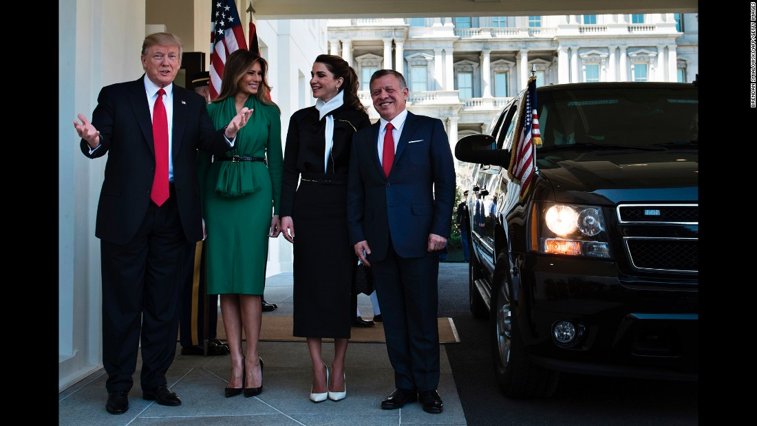 "President Trump and the first lady welcome Jordan's King Abdullah II and Queen Rania on Wednesday, April 5. Trump and Abdullah <a href=""http://www.cnn.com/2017/04/05/politics/king-abdullah-donald-trump-jordan/"" target=""_blank"">are united in the fight against ISIS</a> -- a fact Trump heralded during a news conference in the White House Rose Garden -- but the duo are each other's antithesis when it comes to responding to the issue of Syrian refugees."