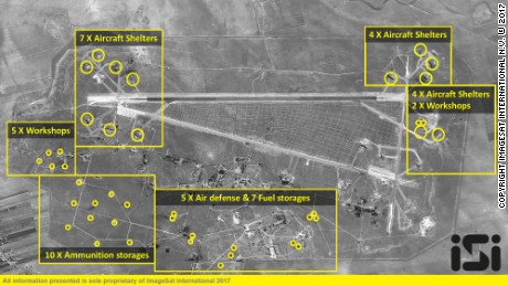 SHAYRAT AIR BASE  A satellite photo of the Shayrat air base after the US missile strikes on April 7, 2017.