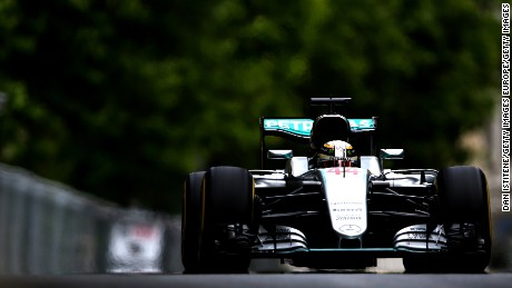 BAKU, AZERBAIJAN - JUNE 17: Lewis Hamilton of Great Britain driving the (44) Mercedes AMG Petronas F1 Team Mercedes F1 WO7 Mercedes PU106C Hybrid turbo on track during practice for the European Formula One Grand Prix at Baku City Circuit on June 17, 2016 in Baku, Azerbaijan.  (Photo by Dan Istitene/Getty Images)
