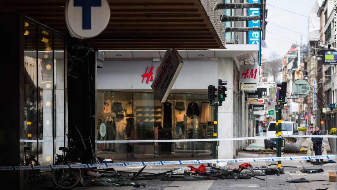 The scene of the attack in Stockholm.