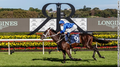 SYDNEY, NEW SOUTH WALES - APRIL 08:  Winx and jockey Hugh Bowman cross the line to win the Queen Elizabeth Stakes at Royal Randwick Racecourse on April 8, 2017 in Sydney, Australia.  (Photo by Brook Mitchell/Getty Images for The ATC)