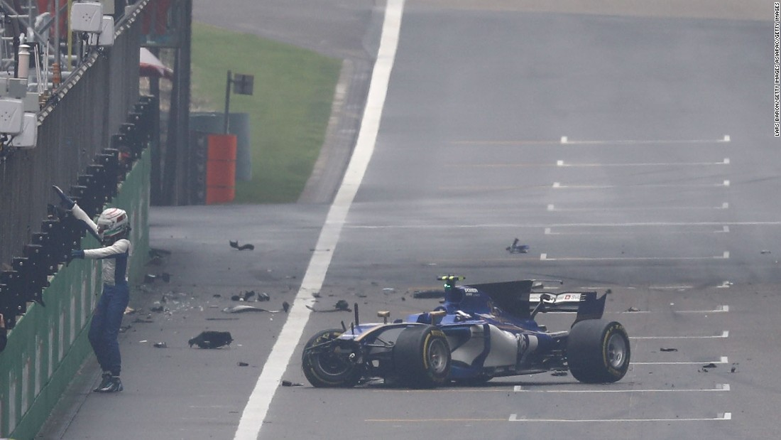 Antonio Giovinazzi of Sauber leaves the track after crashing into the wall of the pit lane.