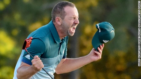 AUGUSTA, GA - APRIL 09:  Sergio Garcia of Spain celebrates after defeating Justin Rose (not pictured) of England on the first playoff hole during the final round of the 2017 Masters Tournament at Augusta National Golf Club on April 9, 2017 in Augusta, Georgia.  (Photo by Harry How/Getty Images)