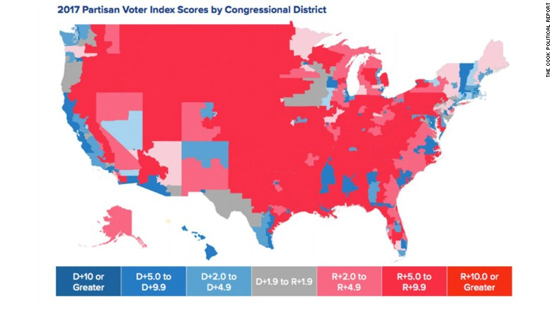 The Map Shows Two Things 1 How Few Compeive Districts There Are In The Country And 2 Just How Geographically Isolated We Are Politically Speaking