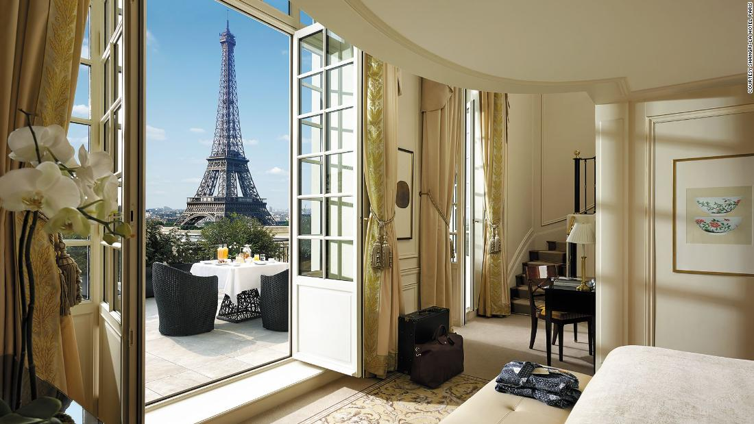 <strong>Shangri-La Hotel, Paris</strong> -- Its unparalleled views of the Eiffel Tower directly across the river make the Shangri-La an ideal Paris honeymoon hotel.