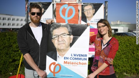 Support for Mélenchon has grown over the past month according to polls.