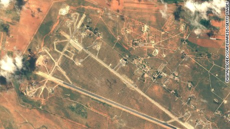 SHAYRAT AIR BASE, SYRIA - APRIL 7, 2016:   DigitalGlobe imagery of the Shayrat Air Base outside of Homs, Syria following the U.S. air strike.   (Photo DigitalGlobe/Getty Images)