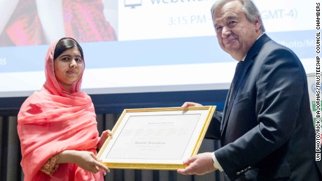Malala Yousafzai was named UN Messenger of Peace by UN Secretary-General Antonio Guterres.