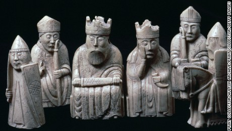 The Lewis Chessmen (c.1150-1200) at the British Museum