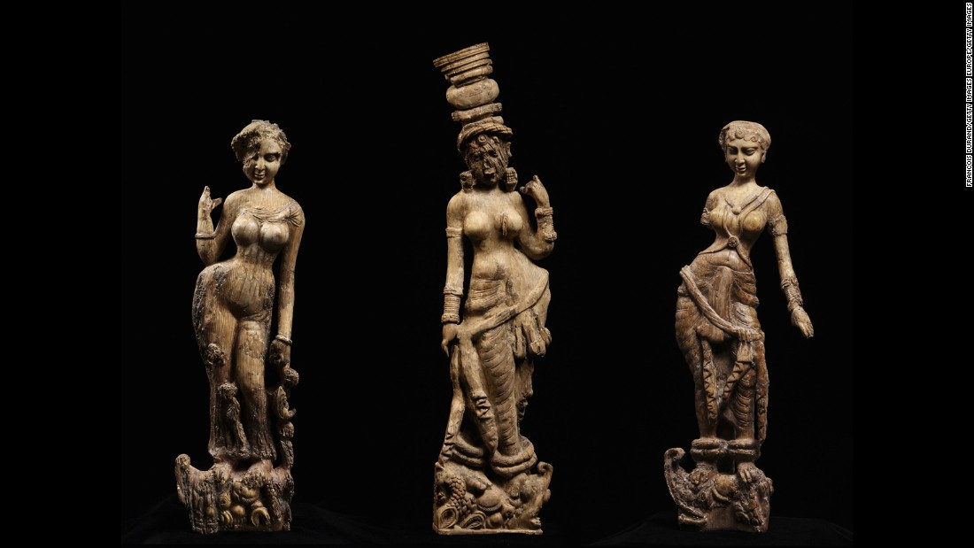 "These first-century statuettes of river goddesses were discovered in Bagram, Afghanistan. They were shown as part of the British Museum's 2011 ""Afghanistan: Crossroads of the Ancient World"" exhibition."