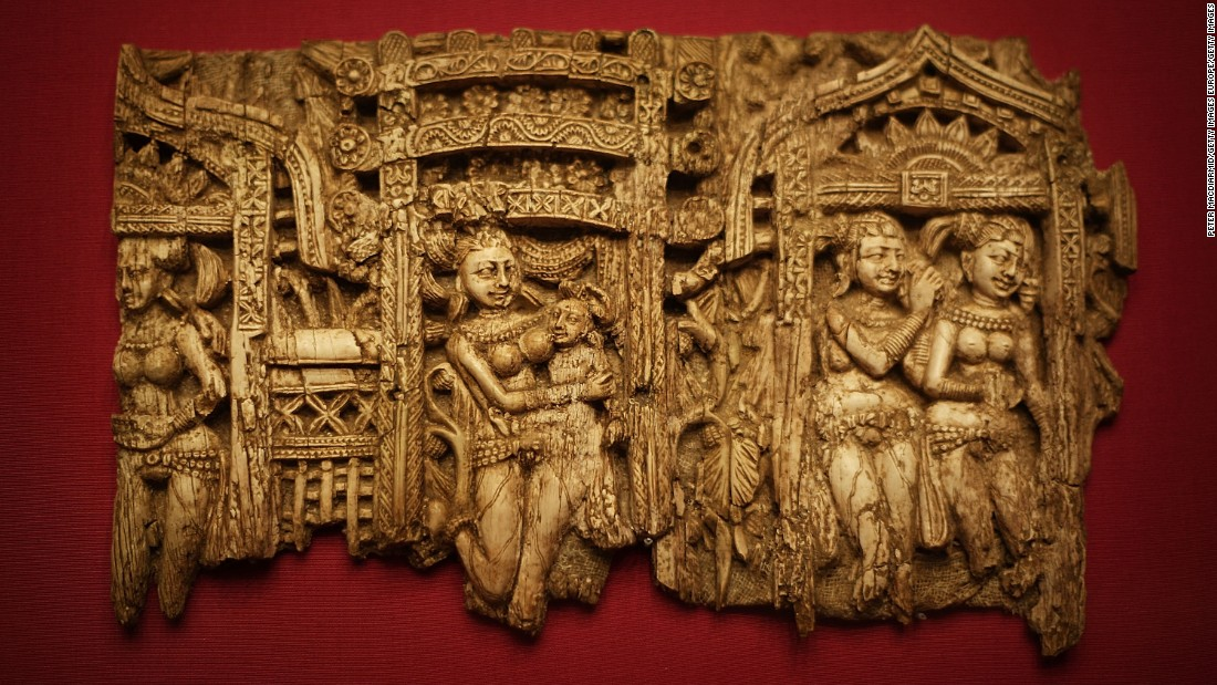 This ivory furniture inlay was also made in the first century, and featured in the same exhibition.