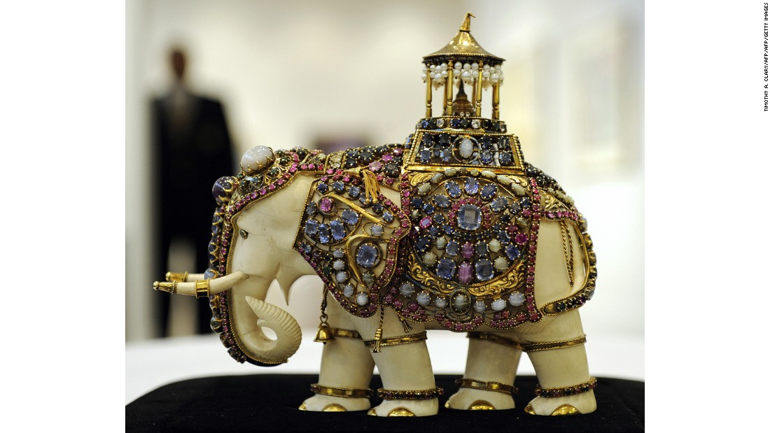 """Percy,"" an elephant encrusted with gems created around 1900, was carved from a single piece of ivory. It sold for $170,500 at a 2009 Christie's auction."