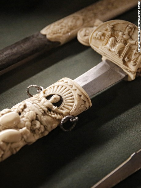 A picture taken on January 10, 2017 shows an ivory sword at the Musei Reali (Royals museum) at the Royal Palace of Savoia dynasty in Turin.    / AFP / MARCO BERTORELLO / RESTRICTED TO EDITORIAL USE        (Photo credit should read MARCO BERTORELLO/AFP/Getty Images)