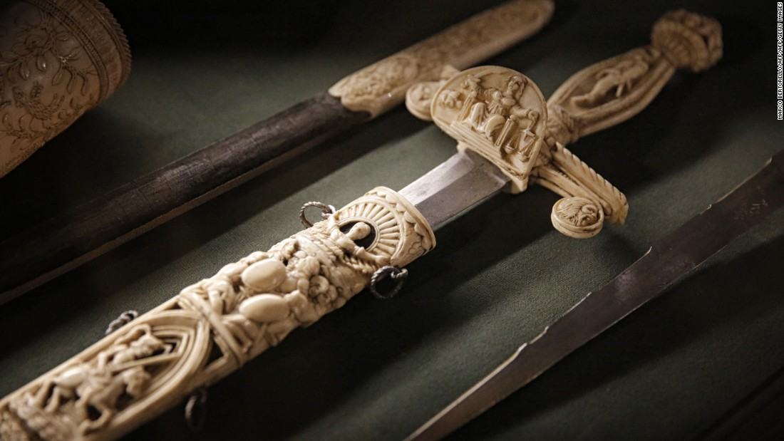 Ivory, derived from the tusks of teeth of certain animals, has been used as an artistic medium for centuries. This ivory sword is on display at the Musei Reali at the Royal Palace in Turin, Italy.