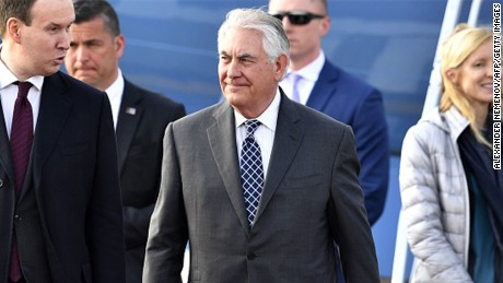 US Secretary of State Rex Tillerson (C) walks upon his arrival at the Vnukovo II Government airport in Moscow on April 11, 2017. US Secretary of State Rex Tillerson arrived in Moscow on April 11 to confront the Russian leadership over its support for President Bashar al-Assad's Syrian regime. Before setting off for Moscow, Tillerson told a G7 foreign ministers' meeting in Italy that Russia should rethink its alliance in the light of the latest alleged chemical attack in Syria.