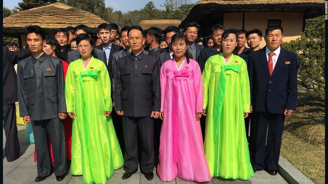 North Koreans have their photo taken at Mangyongdae, the birthplace of Kim Il Sung, on Sunday, April 9.